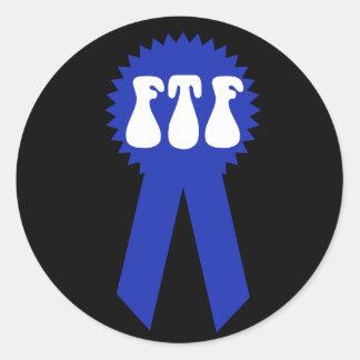 ¡FTF Blue Ribbon! Pegatina Redonda