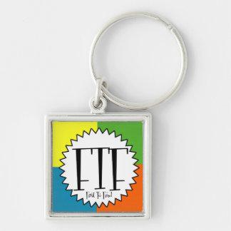 FTF con cuatro colores Llavero Cuadrado Plateado