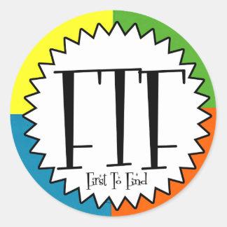 FTF con cuatro colores Pegatina Redonda