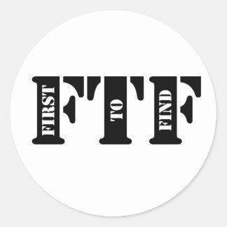 FTF (primero encontrar) Pegatina Redonda