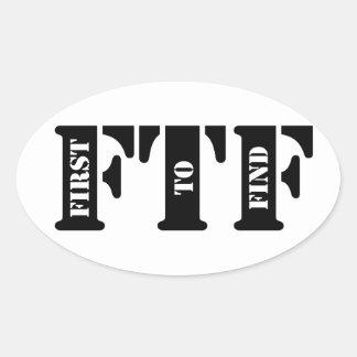 FTF (primero encontrar) Pegatina Ovalada