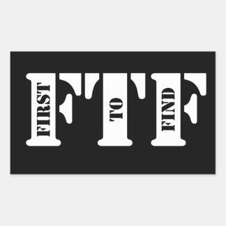FTF (primero encontrar) Pegatina Rectangular