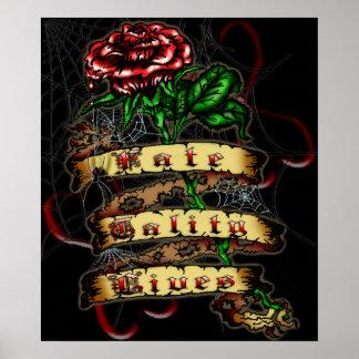 FTL - Impresión color de rosa del tatuaje grande Póster