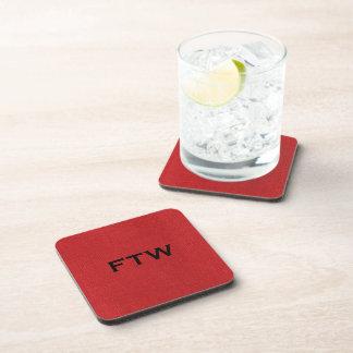 FTW monogram on Red Linen Texture Photo Beverage Coaster
