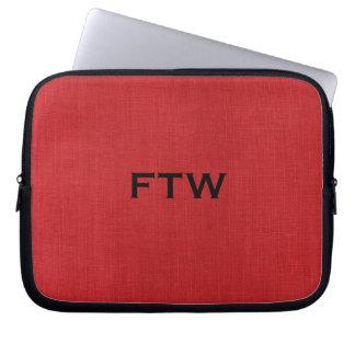 FTW monogram on Red Linen Texture Photo Laptop Sleeve