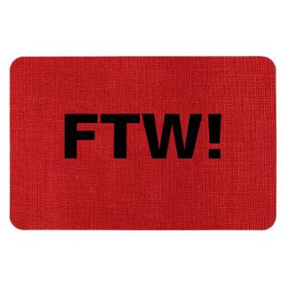 FTW monogram on Red Linen Texture Photo Rectangular Magnets