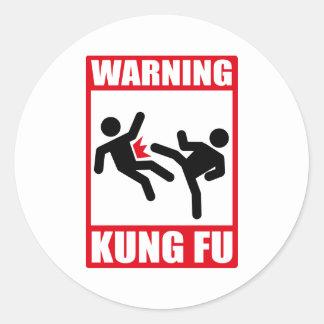 fu amonestador del kung pegatina redonda