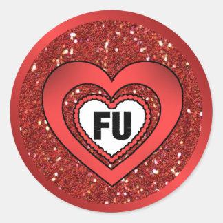FU Anti-Valentine Glitter Hearts Classic Round Sticker