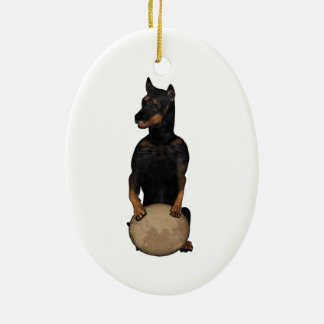 Fu Dog Doberman Pinscher Ceramic Ornament