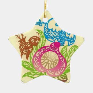 Fu Lu Shou Symbols Ceramic Ornament
