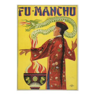 Fu-Manchu Magician Advertisement 5x7 Paper Invitation Card
