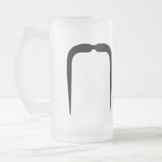 Fu Manchu Mustache Frosted Glass Beer Mug