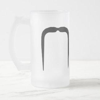Fu Manchu Mustache Frosted Glass Beer Mug