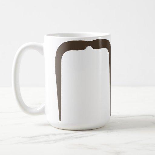 Fu Manchu Mustache in Brown Coffee Mugs