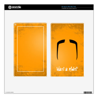 Fu Manchu Mustache Decal For Kindle Fire