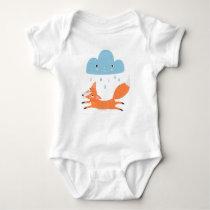 Fox with rain cloud baby bodysuit
