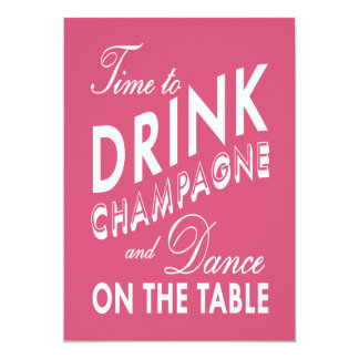 Fuchsia 40th Birthday Time to Drink Champagne Card