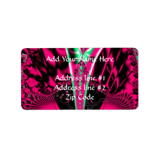 Fuchsia Alien Mardi Gras Mask Fractal Label