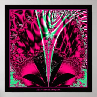 Fuchsia Alien Mardi Gras Mask Fractal Print