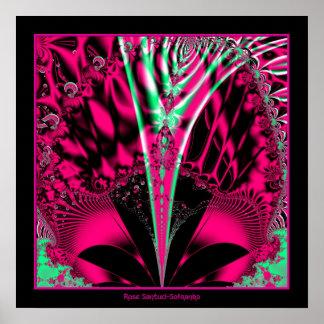 Fuchsia Alien Mardi Gras Mask Fractal Posters