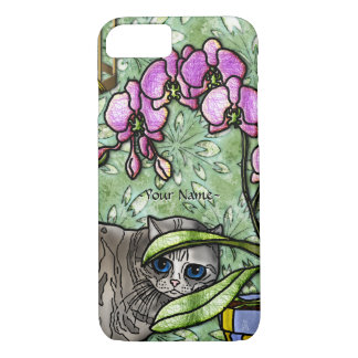 Fuchsia and Big-Eyed Kitty - Personalized iPhone 8/7 Case
