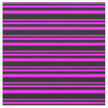 [ Thumbnail: Fuchsia and Black Colored Lined Pattern Fabric ]