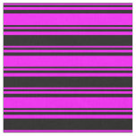 [ Thumbnail: Fuchsia and Black Colored Lined/Striped Pattern Fabric ]