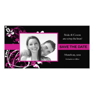 Fuchsia and Black Floral Save the Date Photo Cards