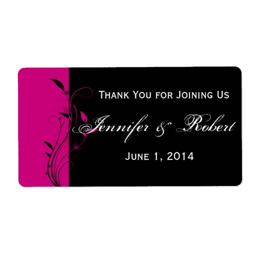 Fuchsia and Black Floral Water Bottle Label