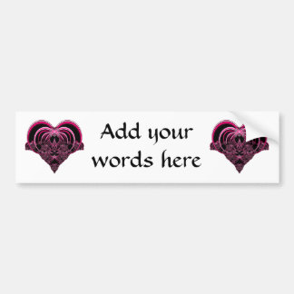 Fuchsia and black fractal heart bumper sticker