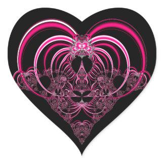 Fuchsia and black fractal heart heart sticker