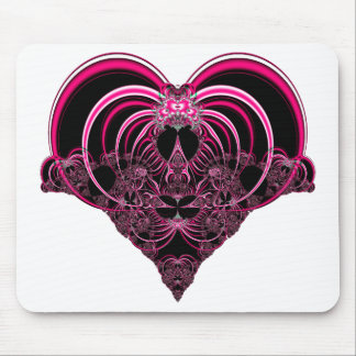 Fuchsia and black fractal heart mouse pad