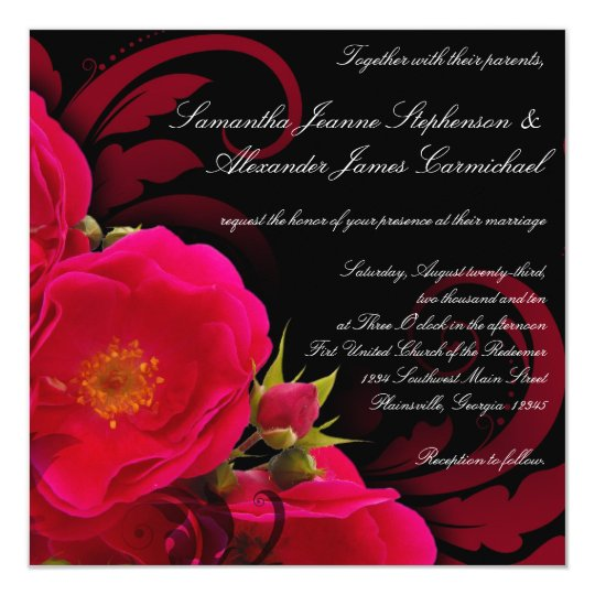 Fuchsia and Black Garden Rose with Swirl Square Card