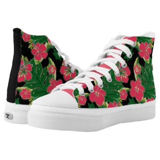 Fuchsia and Black Hibiscus Pattern High-Top Sneakers