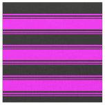 [ Thumbnail: Fuchsia and Black Lines Fabric ]