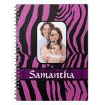 Fuchsia and black zebra print journal
