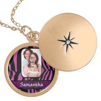Fuchsia and black zebra print locket necklace