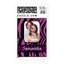 Fuchsia and black zebra print postage