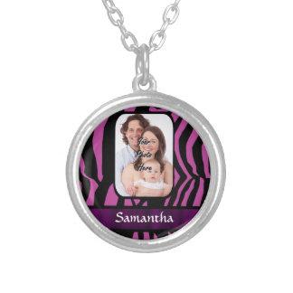 Fuchsia and black zebra print silver plated necklace