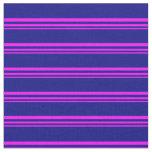 [ Thumbnail: Fuchsia and Blue Stripes Pattern Fabric ]
