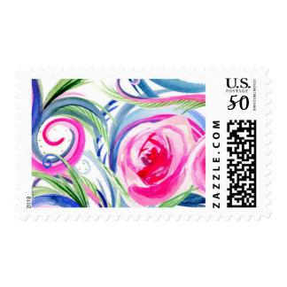 Fuchsia and Blue Watercolor Swirls Postage