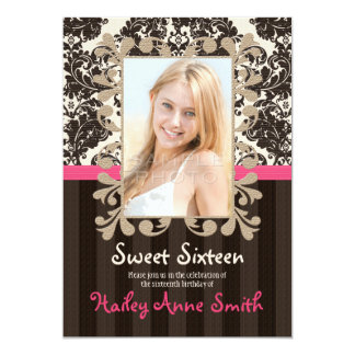 Fuchsia and Brown Vintage Damask Sweet Sixteen Card