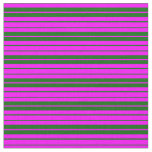 [ Thumbnail: Fuchsia and Dark Green Colored Pattern of Stripes Fabric ]
