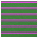 [ Thumbnail: Fuchsia and Dark Green Lines Fabric ]
