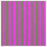 [ Thumbnail: Fuchsia and Dark Olive Green Colored Stripes Fabric ]