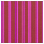 [ Thumbnail: Fuchsia and Dark Red Colored Pattern of Stripes Fabric ]