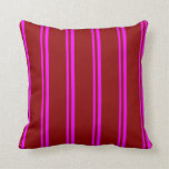 [ Thumbnail: Fuchsia and Dark Red Colored Stripes Pattern Throw Pillow ]