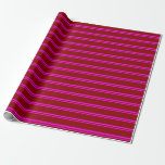 [ Thumbnail: Fuchsia and Dark Red Colored Stripes Pattern Wrapping Paper ]