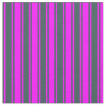 [ Thumbnail: Fuchsia and Dark Slate Gray Colored Stripes Fabric ]