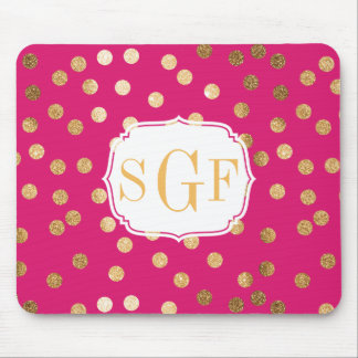 Fuchsia and Gold Glitter Dots Monogrammed Mouse Pad